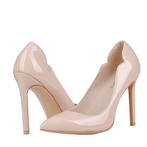 Pointed Patent Leather 5 Heel 1 5 Curve US Pumps MERUMOTE Women's 15 Nude 2002 Toe High Colorful wYq0ng8