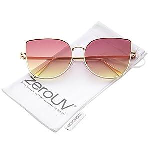 zeroUV - Women's Oversize Slim Metal Frame Gradient Colored Flat Lens Cat Eye Sunglasses 58mm (Matte Gold / Pink-Yellow)
