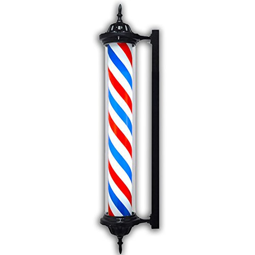 Black Barber Shop 30  Pole Spire Style Spinning Red White Blue Stripes Hair Cut Shave Salon Open Sign