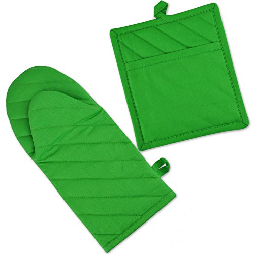 DII 100% Cotton, Machine Washable, Everyday Kitchen Basic, Oven Mitt and Pot Holder Gift Set, Neon Green ()