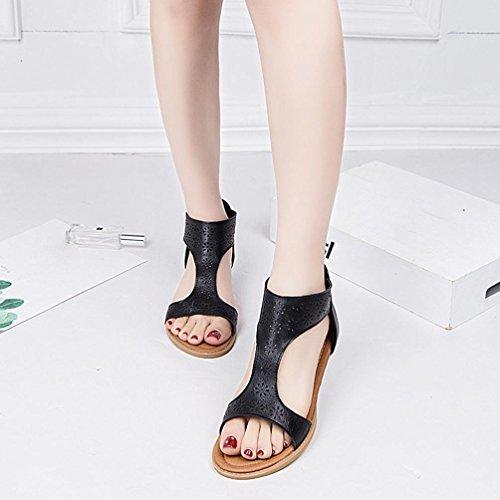 Sandalen Reißverschluss Einlegesohlen Schwarz Sandale HUHU833 Damen Gladiator wtnqz4tRX