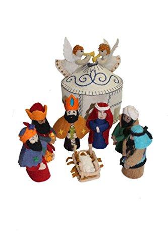 Silk Road Bazaar Felted White Nativity Set