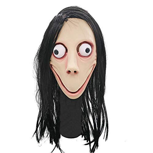 Fancystar Death Game Scary Latex MOMO Mask No Bang Style Scary Mask Tern Halloween Female Ghost Wig -