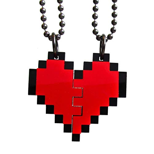 Friendship Pixel Heart Set of 2 Necklaces, BFF Heart Necklace Set, Best Friends 8 Bit Gift Heart Necklace Set, Friend Broken Heart BFF Gift ()