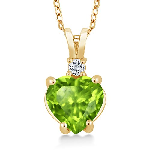 1.58 Ct Heart Shape Green Peridot White Topaz 14K Yellow Gold Pendant 14k Yellow Gold Peridot Pendant