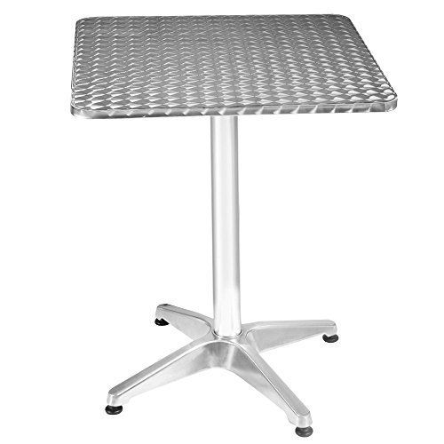 douself Aluminum Stainless Steel Square Table Patio Bar Pub Restaurant Table , 23 1/2'' Adjustable Height by douself