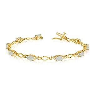 10K Amarillo Oro Oval Opal y Diamante Pulsera
