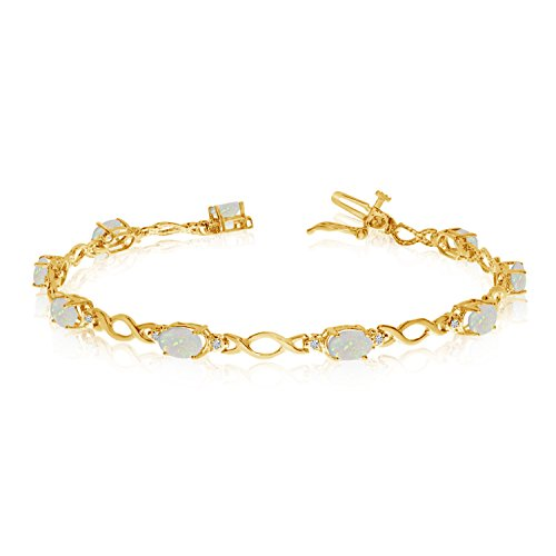 14K Yellow Gold Oval Opal and Diamond Bracelet (6 Inch Length)