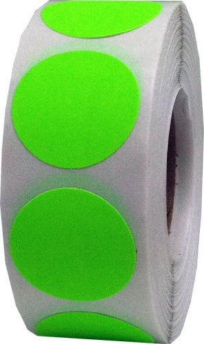 Fluorescent Green Color Coding Labels Round Circle Dots 1 Inch 1,000 Total Adhesive Stickers