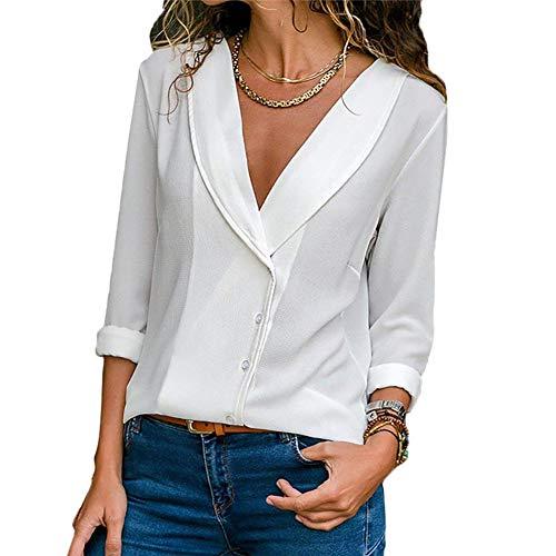 XUYUS Women's Sexy V Neck T-Shirt Long Sleeve Chiffon Blouses Casual Loose Tunic Tops (XL, White)