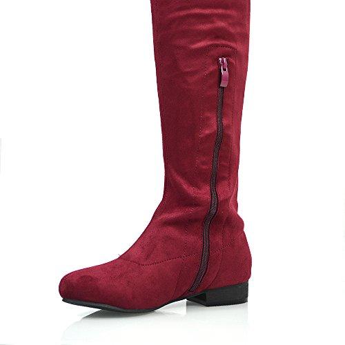 Essex Glam Damen Denbare Oberschenkel hoche Wildleder Stiefeln Burgund Wildlederimitat