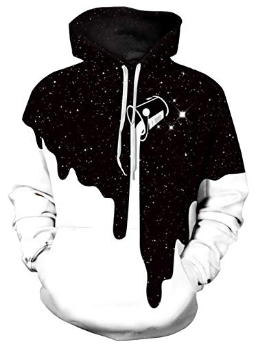 Campus Hooded Sweatshirt - TUONROAD Men's 3D Graphic Hoodies Jacket Coat Pour The Milk Solid White Black Cup Bling Stars Big and Tall Drawstring Hooded Pullover Sweatshirts for Adult Youth Campus Juniors School