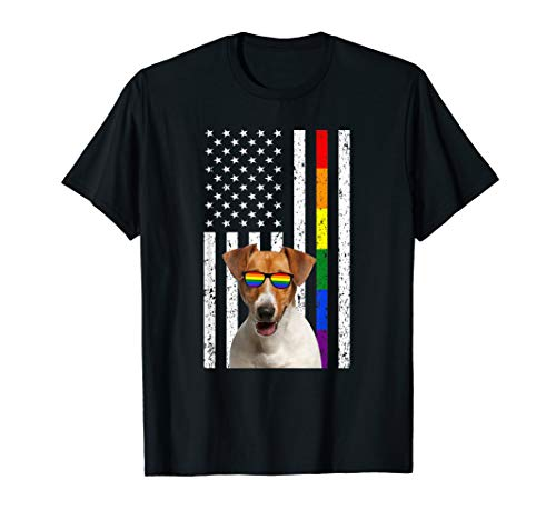 LGBT Jack Russell Terrier Dog American Flag T-Shirts Gifts