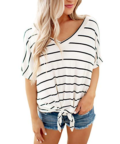 Barblure Womens Summer Striped Short Sleeve V Neck Knot Front T Shirts Casual Blouses Tunics Chic Tee Tops