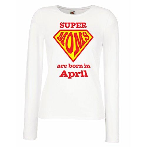 lepni.me Camisetas de Manga Larga para Mujer Super MOM Nacieron en Abril (Small Blanco Multicolor)