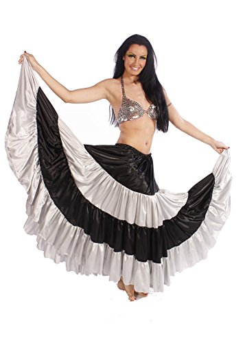 Black Light Dance Costumes (Belly Dance Multi-Color Stripped 17 yard Satin Skirt | Love and Light - Black/Silver)