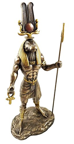 Altar Statue Sculpture (EGYPTIAN GOD OF THE NILE MILITARY PROWESS SOBEK WITH ANKH SCULPTURE 12