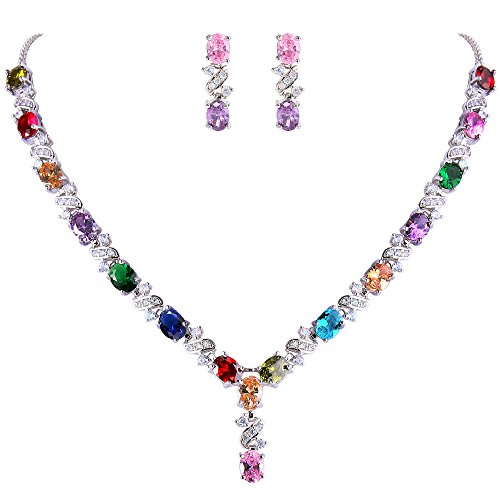 - EleQueen Women's Silver-Tone Cubic Zirconia Oval Shape Leaf Necklace Earrings Set for Brides and Weddings Multicolor