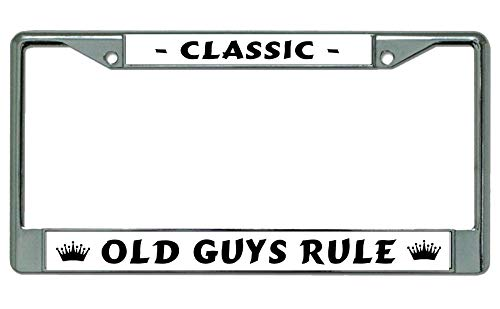 Classic Old Guys Rule Chrome License Plate - Plates License Rule
