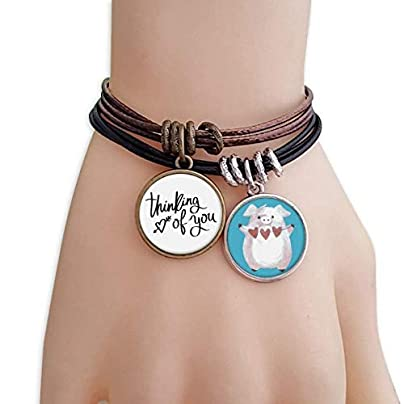 master DIY Thinking You Quote Bracelet Rope Wristband Pig Heart Love Set Estimated Price -