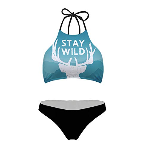 Mumeson Women's Juniors Cute Bikini Set Swimsuit Stay Wild Quote with Antler Print Two Piece High Neck Halter Swimwear, XL