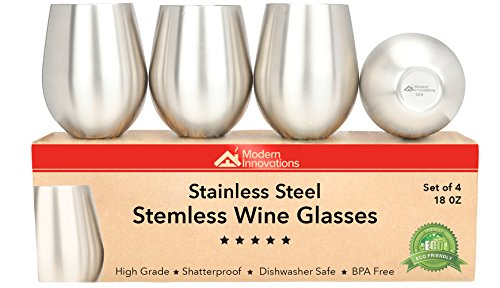 Stainless Steel Glasses (Modern Innovations Stainless Steel Stemless Wine Glasses, Set of 4, 18 Oz Tumblers Made of BPA Free Dishwasher Safe Unbreakable Shatterproof SS Great for Camping, Picnics, Daily, Formal & Outdoor Use)