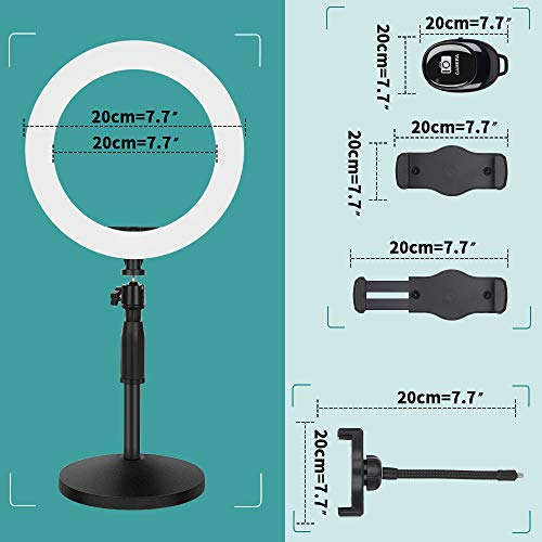 Thustar 10'' LED Ring Light with Stable Disc Base & Phone Holder, Desktop Ring Light, Makeup Light Ring for Live…
