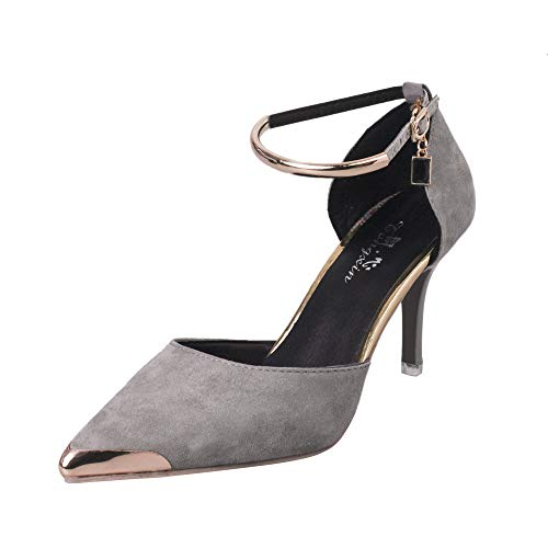 QueenMM  Oppointed-Ankle Women's Pointed Toe Ankle Strap D'Orsay High Heel Stiletto Pumps Shoes Gray ()