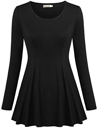 A Line Dress,Ouncuty Empire Waist Pleated Front Loose Fitting Tops Black 2XL