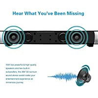 """Bluetooth Sound Bar 15.7"""" Portable Wireless Speakers for Home Theater Surround Sound with Built-in Subwoofers for TV/PC/Phones/Tablets,with Remote Control from SiLu"""