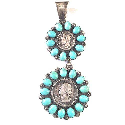 Nizhoni Traders LLC Vintage Sleeping Beauty Turquoise Liberty Head Dime Quarter Navajo Pendant