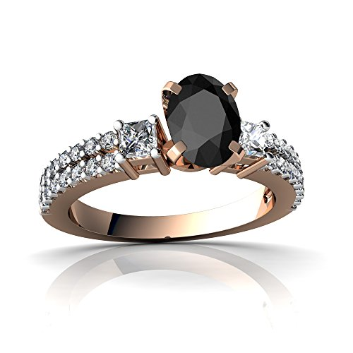 14kt Rose Gold Black Onyx and Diamond 7x5mm Oval Engagement Ring - Size 9