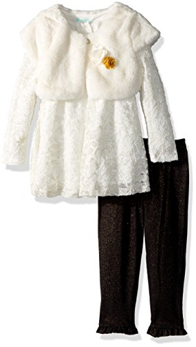 Nannette Baby Girls' Fashion Top with Legging and Faux Fur Vest, Gold, 18m