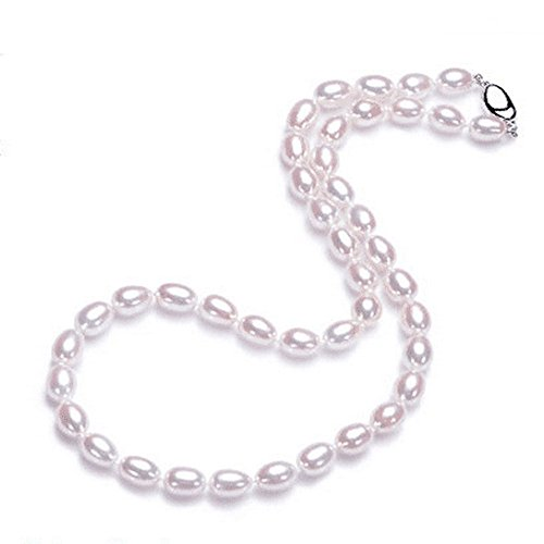 Classic Single-strand AAAA Oval 7-8 mm Freshwater Cultured Pearl Strand (7 Mm Single Strand)