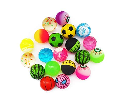 SKKSTATIONERY Bouncy Balls 20 Pcs, High Bouncing Balls for Kids, Assorted Designs, Party Favors, 1.25 Inches in - High Bouncing Balls