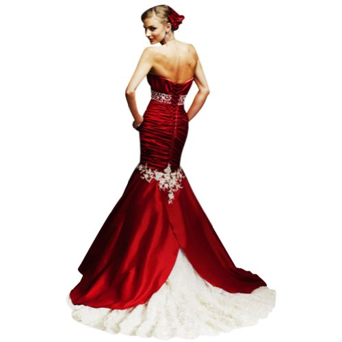BRIDE Detail mit Satin Meerjungfrau Rot Brautkleid GEORGE traegerlose Perlen Elegante 4RwqH