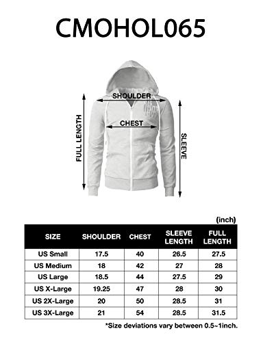 H2H Mens Casual Zip up Hoodie Jacket Double Cotton Lightweight Hooded