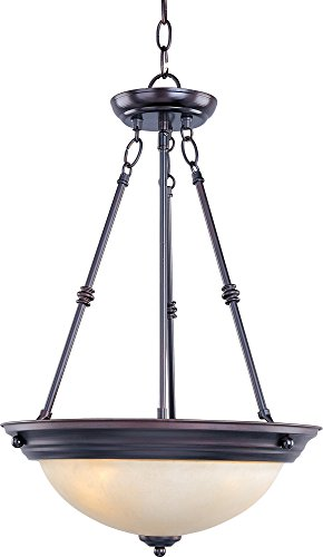 (Maxim 5845WSOI Essentials 3-Light Invert Bowl Pendant, Oil Rubbed Bronze Finish, Wilshire Glass, MB Incandescent Incandescent Bulb , 60W Max., Dry Safety Rating, Standard Dimmable, Metal Shade Material, Rated Lumens)