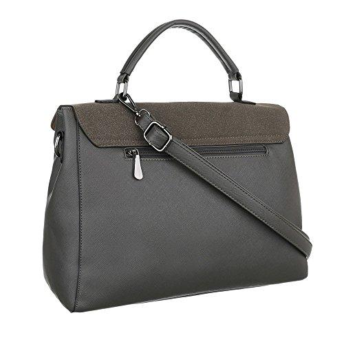 Schultertasche Handtasche Tragetasche Grau