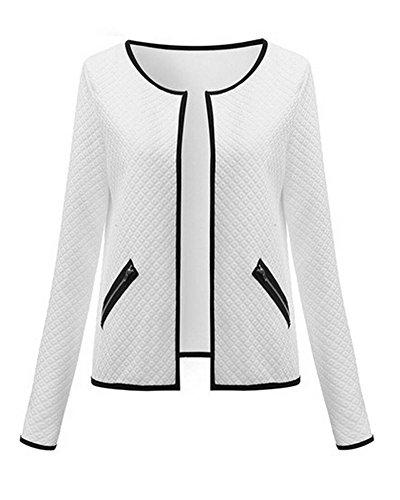 Poche Zippe Court Blanc Outwear Veste Femmes Avec Manches Confortable Longues Manteau Blousons wnvqzXqS