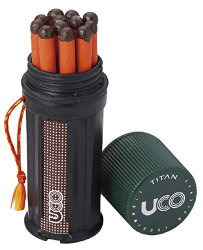 (UCO Titan Stormproof Match Kit with Waterproof Case, Replacement Strikers and 12 Matches)