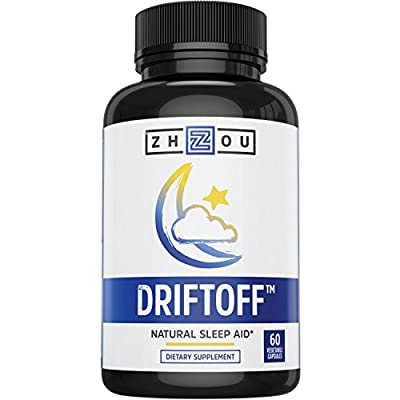 DRIFTOFF Natural Sleep Aid with Valerian Root & Melatonin - Sleep Well, Wake Refreshed - Non Habit Forming Sleep Supplement - Also Includes Chamomile, Tryptophan, Lemon Balm & More - 60 Veggie Caps