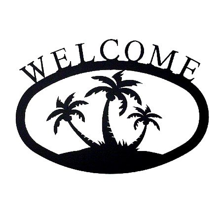 Village Wrought Iron 11 Inch Palm Trees Welcome Sign (Wrought Iron Ornament Tree)