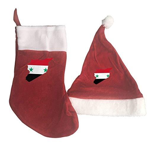 Zeajant Map of Syria Natiomal Flag Santa Hat & Christmas Stocking Holiday Christmas Decorations Party Accessory -
