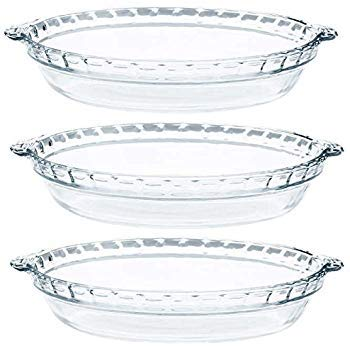 Pyrex - Glass Pie Plates - 3 Pack ( 9.5 inchex x 1.5 inches) by Pyrex