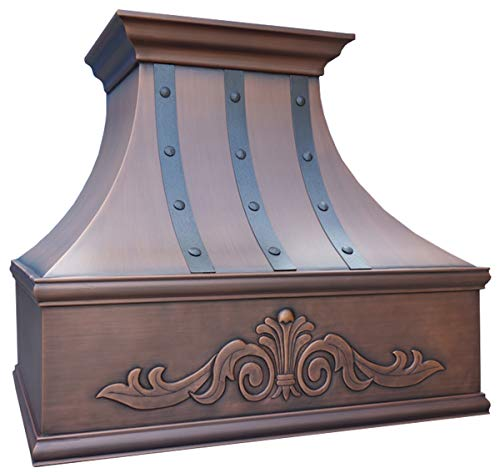 Copper Kitchen Range Hood Shell with Commercial Grade Stainless Steel High CFM Certifugal Blower, Inlcudes Fan Motor, Light, and Baffle Filter, Hand Embossed Custom Apron Patterm Wall Mount 30x30in