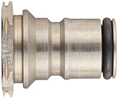 "Eaton Hansen 2KGF Stainless Steel Pneumatic Fitting, Plug with Valve and O-ring, 9/16""-18 Female, 41/64"" OD"