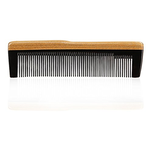 Hair Comb,beard comb Handmade Eyros mix of Horn and sandalwood comb for men women anti static fine and medium tooth for hair beard mustache with case (15S) (Ox Horn Beard Comb)