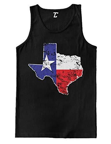 Texas State Flag Map - USA Men's Tank Top (Black, Large) ()