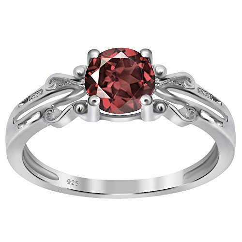 January Birthstone Ring - 925 Sterling Silver Round Shaped Natural Garnet Ring for Women, Solitaire Ring, January Birthstone Ring, Perfect for Mother Day, Engagement Ring, Birthday, Free Gift Box (1.00 Cttw, 6x6 MM Round)